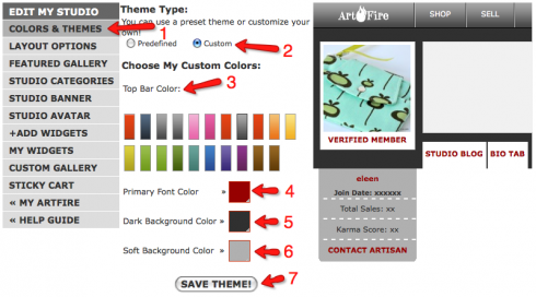 Artfire's Colors & Themes page